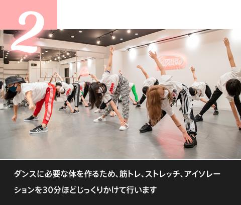 ダンスに必要な体を作るため、筋トレ、ストレッチ、アイソレーションを30分ほどじっくりかけて行います。